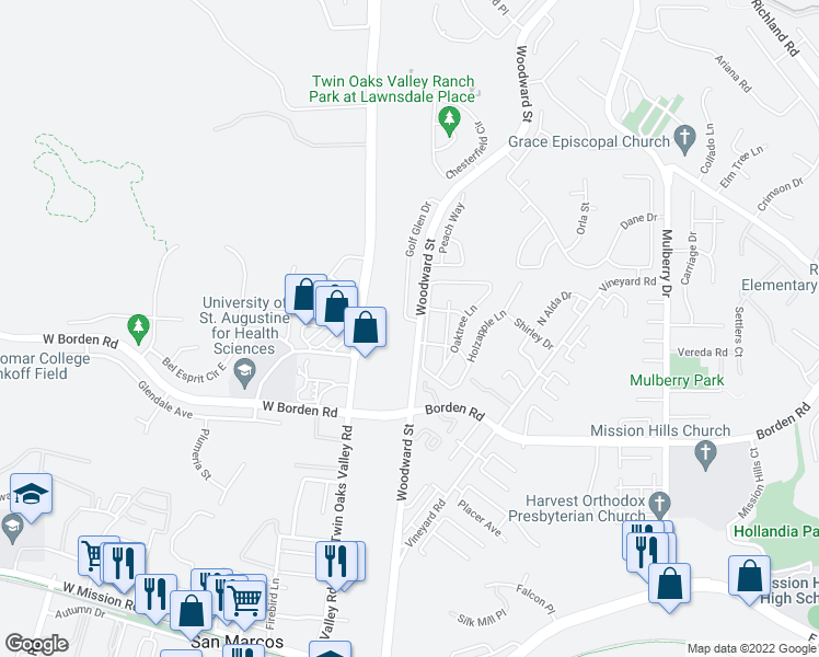 map of restaurants, bars, coffee shops, grocery stores, and more near 502 Golf Glen Dr in San Marcos