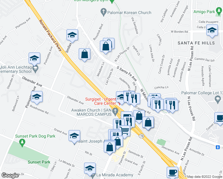 map of restaurants, bars, coffee shops, grocery stores, and more near 228-232 Las Flores Drive in San Marcos