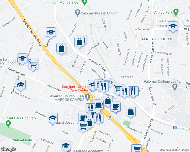 map of restaurants, bars, coffee shops, grocery stores, and more near 3510 Barranca Road in San Marcos