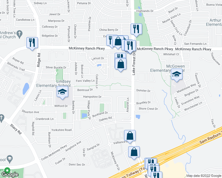 map of restaurants, bars, coffee shops, grocery stores, and more near 5300 Dunster Drive in McKinney