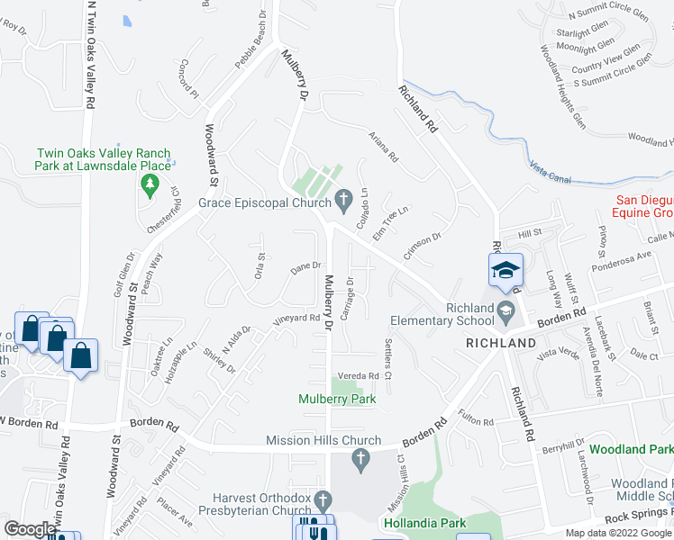 map of restaurants, bars, coffee shops, grocery stores, and more near 915 Mulberry Dr in San Marcos