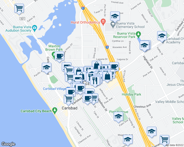 map of restaurants, bars, coffee shops, grocery stores, and more near 849 Home Avenue in Carlsbad