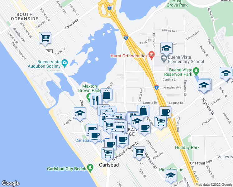 map of restaurants, bars, coffee shops, grocery stores, and more near 2600 Kremeyer Circle in Carlsbad