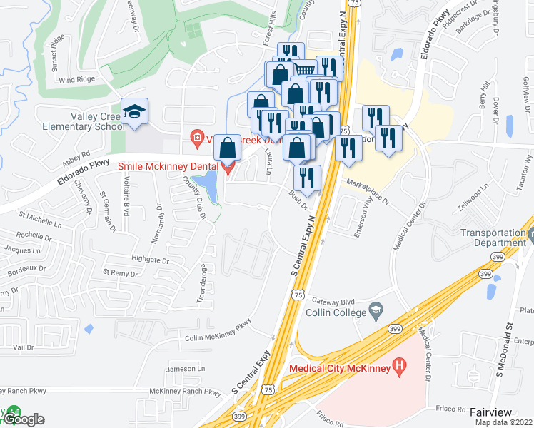 map of restaurants, bars, coffee shops, grocery stores, and more near 3250 Craig Drive in McKinney