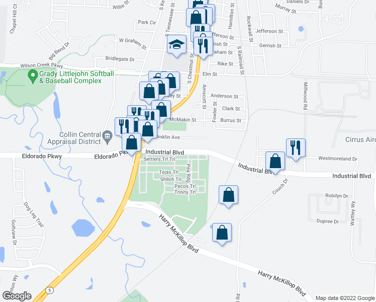 map of restaurants, bars, coffee shops, grocery stores, and more near 113 Industrial Blvd in McKinney