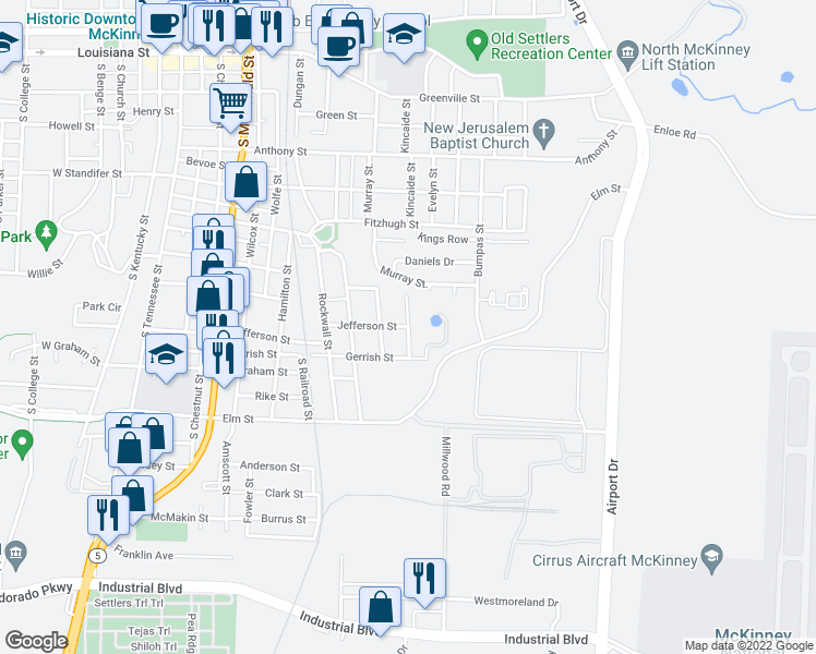 map of restaurants, bars, coffee shops, grocery stores, and more near 1009 Healy Street in McKinney