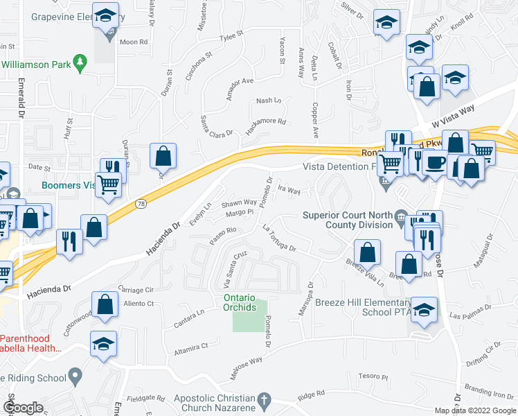 map of restaurants, bars, coffee shops, grocery stores, and more near 389 Pomelo Drive in Vista