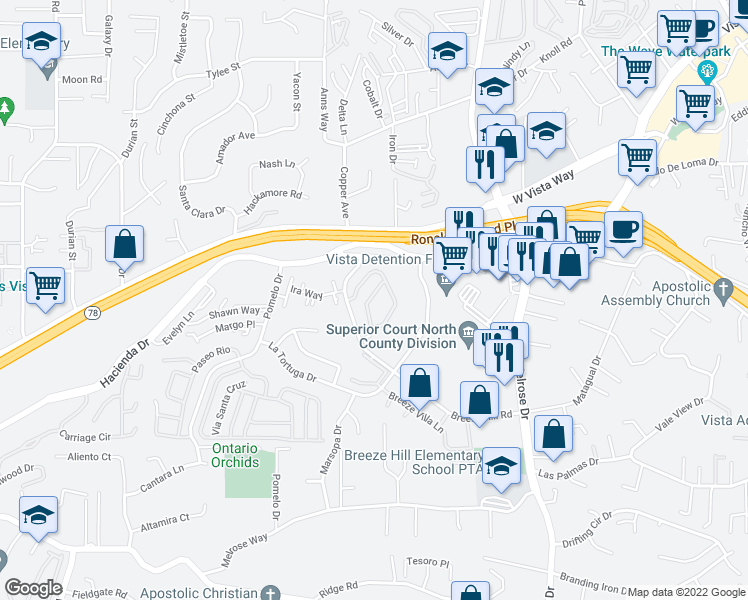 map of restaurants, bars, coffee shops, grocery stores, and more near 871 Wandering Road in Vista