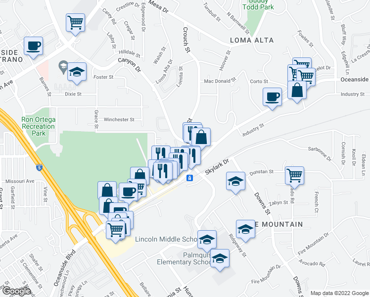 map of restaurants, bars, coffee shops, grocery stores, and more near 613 Crouch St in Oceanside
