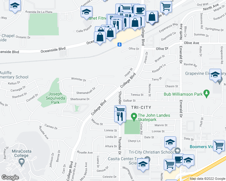 map of restaurants, bars, coffee shops, grocery stores, and more near 2759 College Boulevard in Oceanside