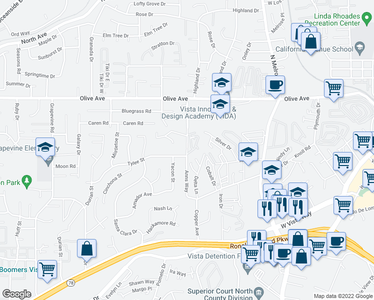 map of restaurants, bars, coffee shops, grocery stores, and more near 426 Anns Way in Vista