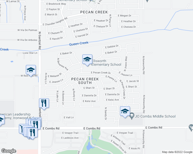 map of restaurants, bars, coffee shops, grocery stores, and more near 38317 North Carolina Avenue in San Tan Valley