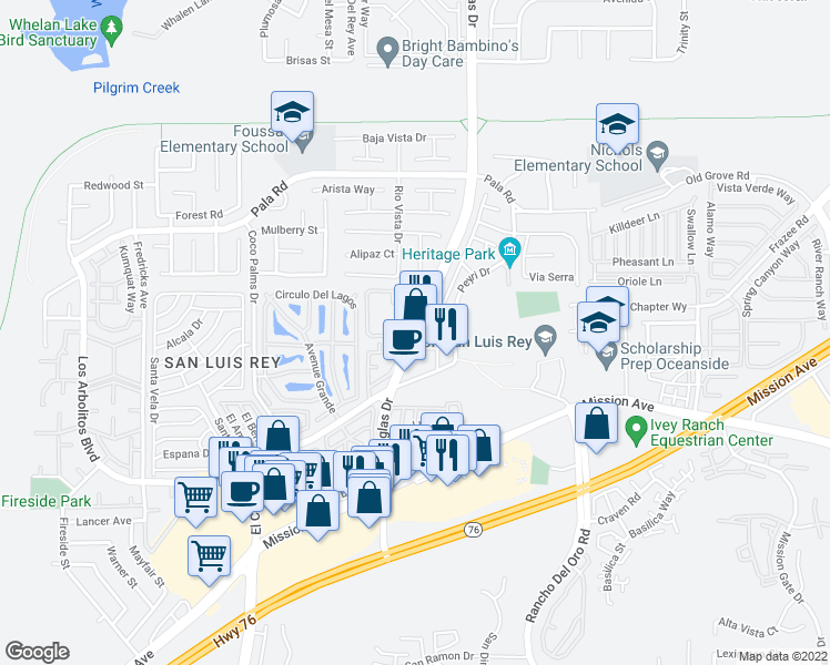 map of restaurants, bars, coffee shops, grocery stores, and more near 315 Dolphin Lane in Oceanside
