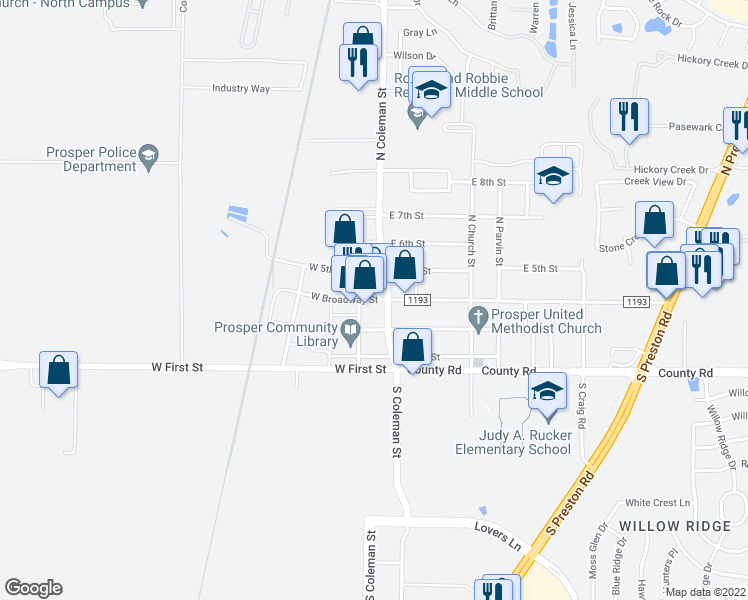 map of restaurants, bars, coffee shops, grocery stores, and more near 110 S Coleman St in Prosper