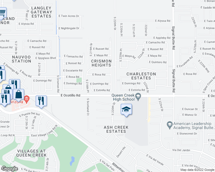 map of restaurants, bars, coffee shops, grocery stores, and more near 21981 East Domingo Road in Queen Creek