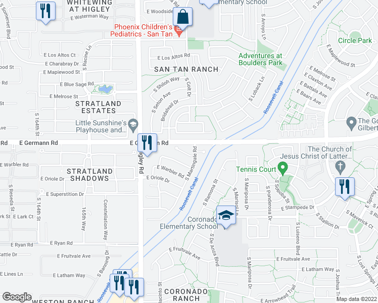map of restaurants, bars, coffee shops, grocery stores, and more near 3386 East Flamingo Court in Gilbert
