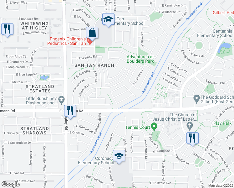 map of restaurants, bars, coffee shops, grocery stores, and more near 3532 East Trigger Way in Gilbert