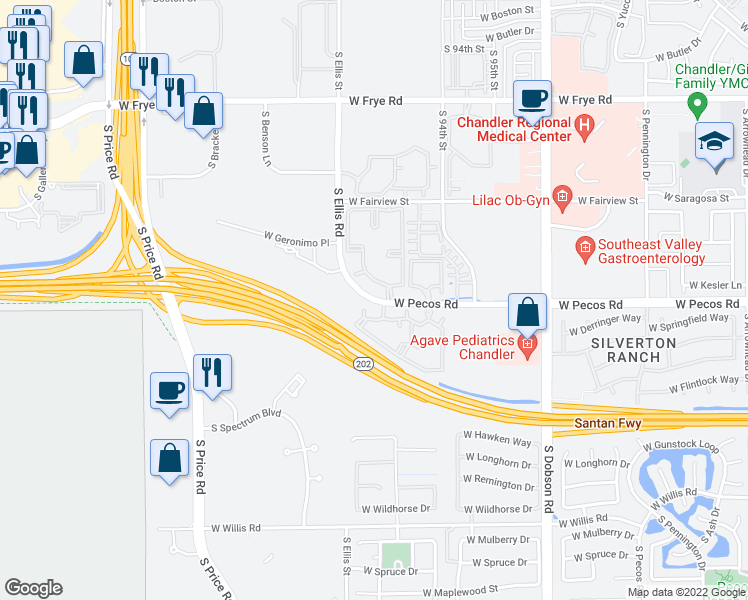 map of restaurants, bars, coffee shops, grocery stores, and more near South Ellis Road in Chandler