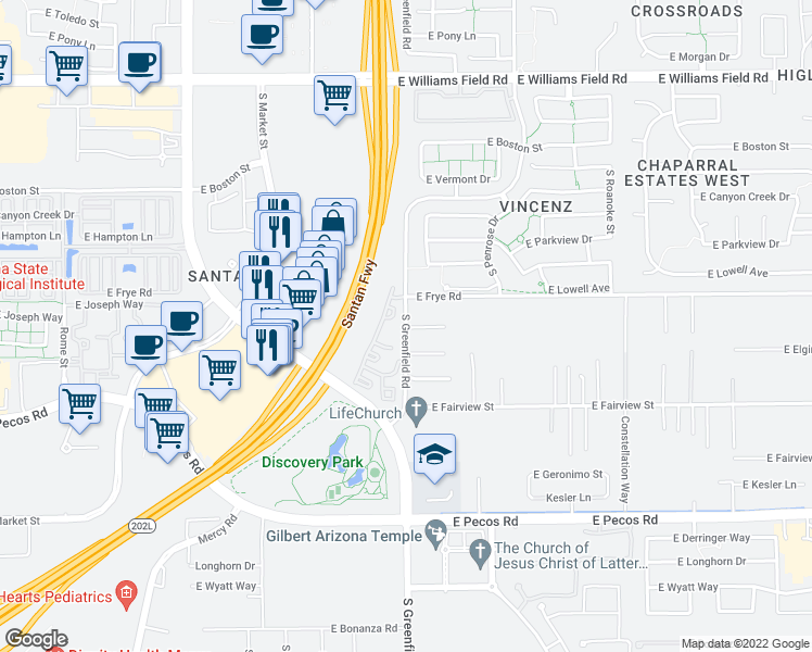 map of restaurants, bars, coffee shops, grocery stores, and more near 16509 South Greenfield Road in Gilbert