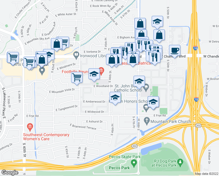 map of restaurants, bars, coffee shops, grocery stores, and more near 4601-4699 East Woodland Drive in Phoenix