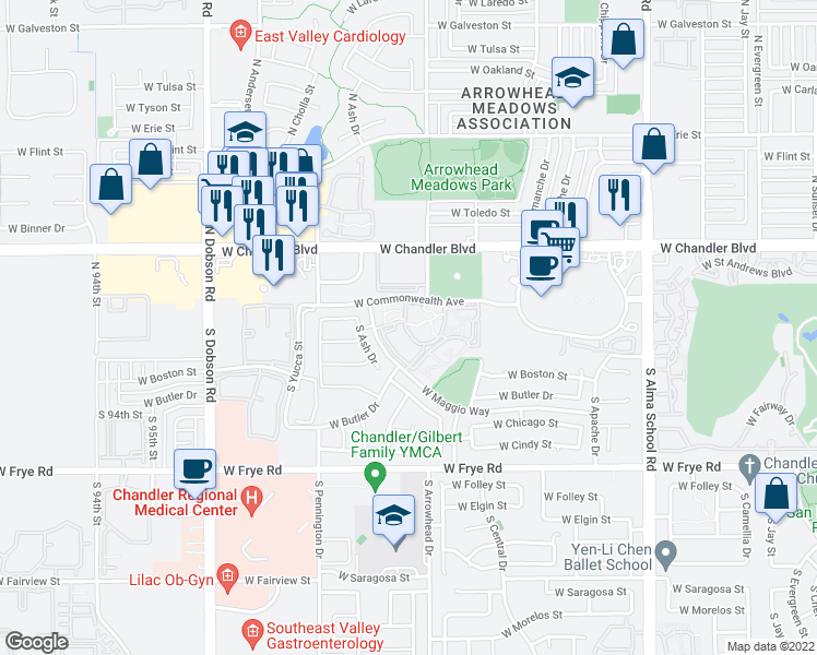 map of restaurants, bars, coffee shops, grocery stores, and more near Maggio Ranch Apartment in Chandler