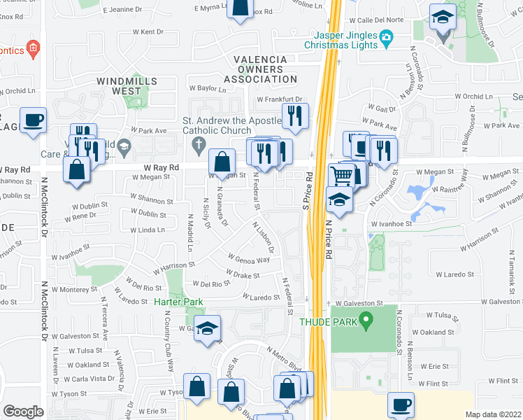 map of restaurants, bars, coffee shops, grocery stores, and more near in Chandler