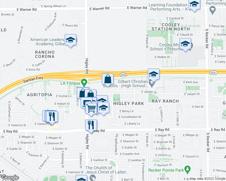 map of restaurants, bars, coffee shops, grocery stores, and more near 1474 South Colt Drive in Gilbert