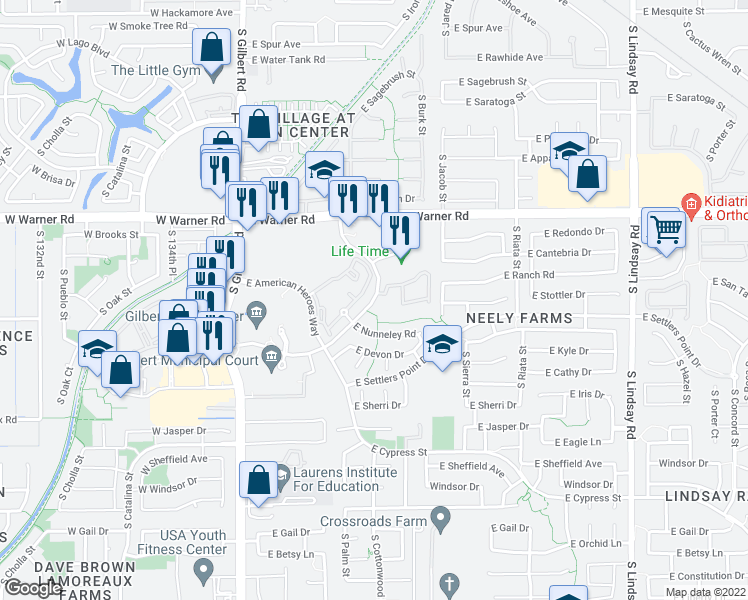 map of restaurants, bars, coffee shops, grocery stores, and more near 351 S Civic Center Dr in Gilbert