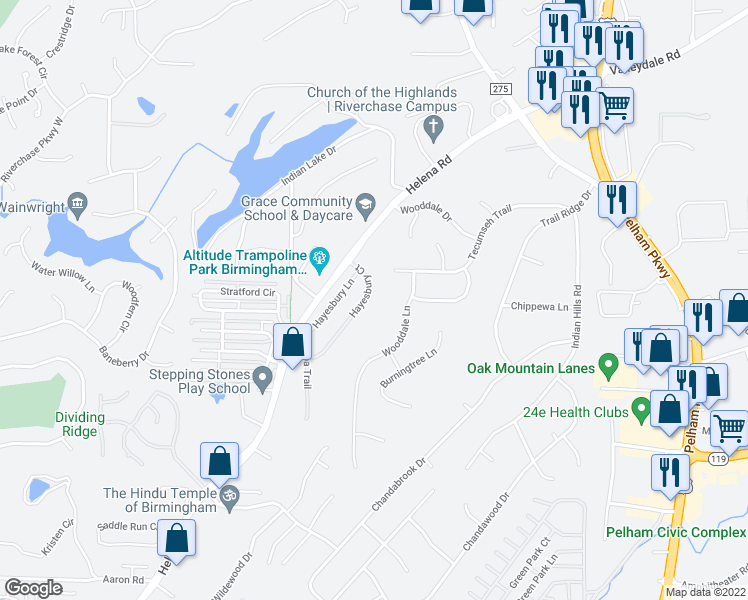 map of restaurants, bars, coffee shops, grocery stores, and more near 4616 Wooddale Lane in Pelham