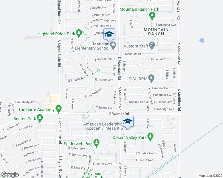 map of restaurants, bars, coffee shops, grocery stores, and more near 11132 East Renfield Avenue in Mesa