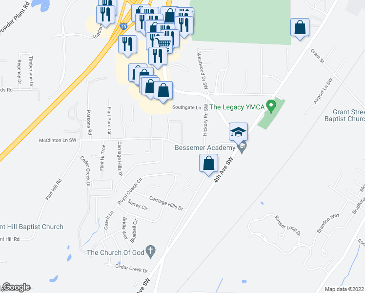map of restaurants, bars, coffee shops, grocery stores, and more near None in Bessemer