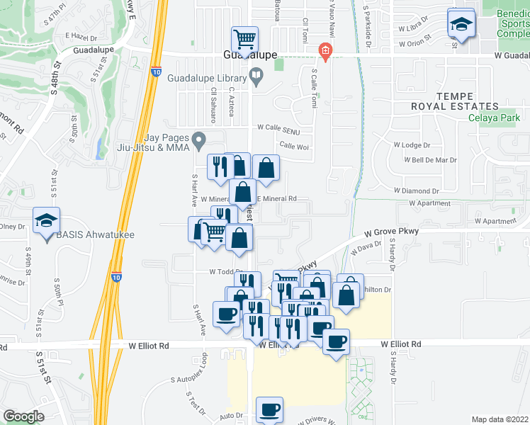 map of restaurants, bars, coffee shops, grocery stores, and more near 7017 South Priest Drive in Tempe