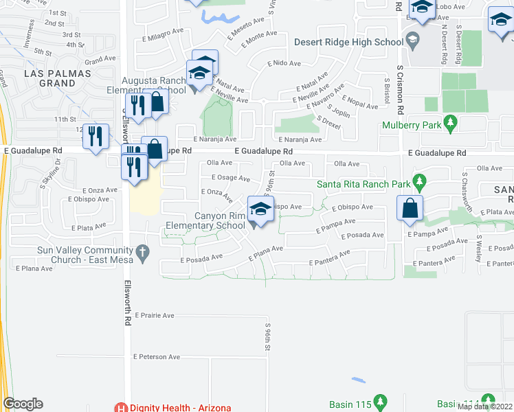 map of restaurants, bars, coffee shops, grocery stores, and more near 9611 East Obispo Avenue in Mesa