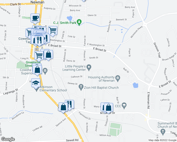 map of restaurants, bars, coffee shops, grocery stores, and more near 96 Savannah St in Newnan