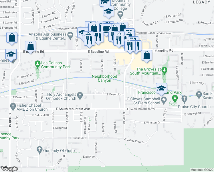 map of restaurants, bars, coffee shops, grocery stores, and more near 2238 E Desert Ln in Phoenix