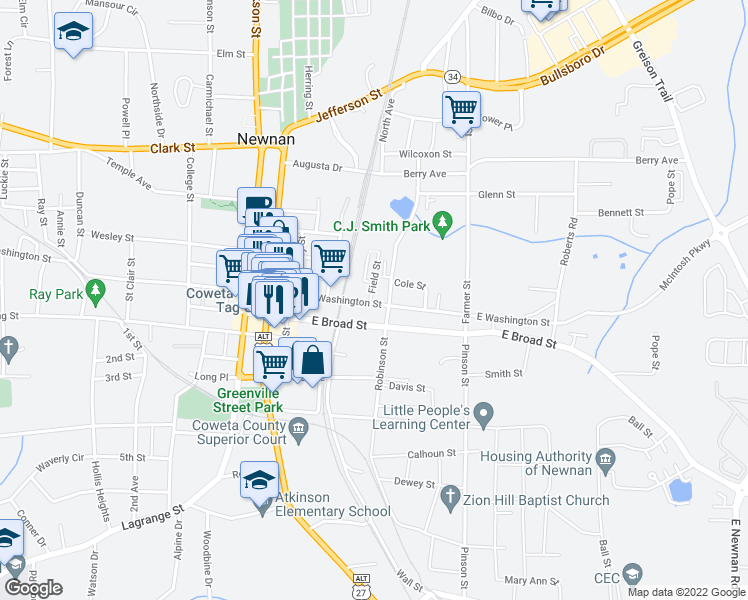 map of restaurants, bars, coffee shops, grocery stores, and more near 73-99 Field St in Newnan