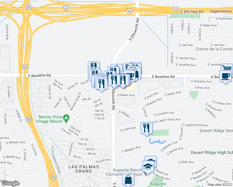 map of restaurants, bars, coffee shops, grocery stores, and more near 2123-2197 South Ellsworth Road in Mesa