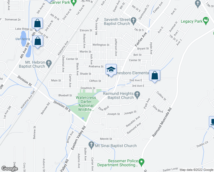 map of restaurants, bars, coffee shops, grocery stores, and more near 116 Owen Avenue in Bessemer