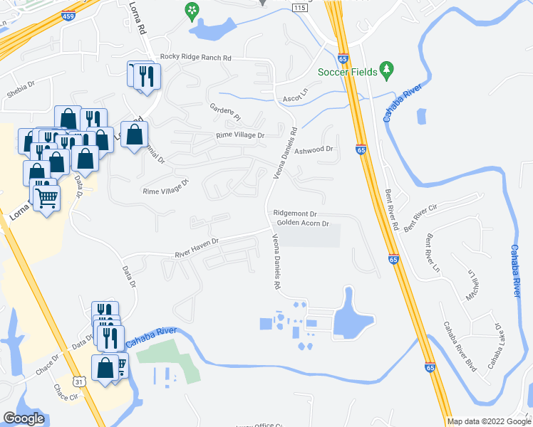 map of restaurants, bars, coffee shops, grocery stores, and more near Veona Daniels Rd & Ridgemont Dr in Birmingham