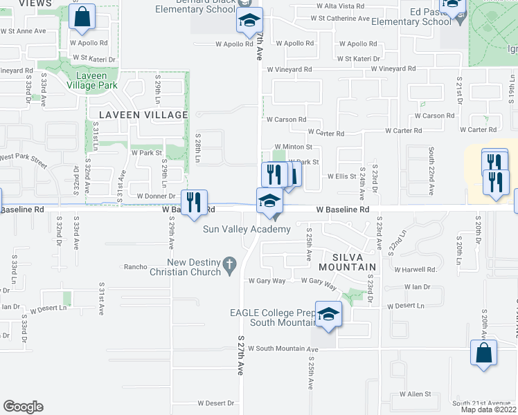 map of restaurants, bars, coffee shops, grocery stores, and more near W Baseline Rd & S 27th Ave in Phoenix