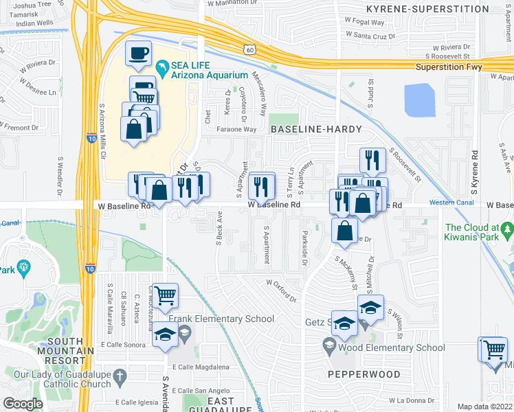 map of restaurants, bars, coffee shops, grocery stores, and more near 1219 West Baseline Road in Tempe