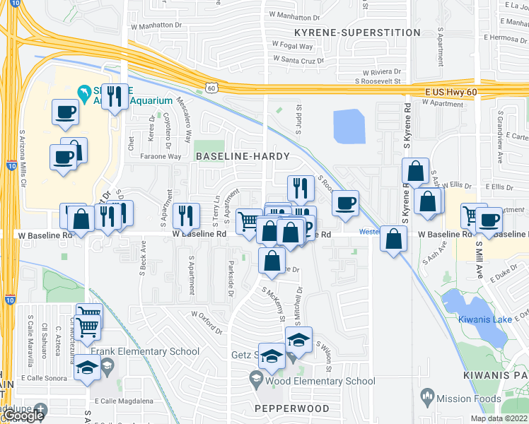 map of restaurants, bars, coffee shops, grocery stores, and more near in Tempe