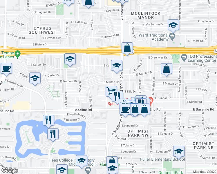 map of restaurants, bars, coffee shops, grocery stores, and more near 4908 S Alder Dr in Tempe