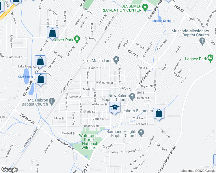 map of restaurants, bars, coffee shops, grocery stores, and more near 346 Owen Avenue in Bessemer