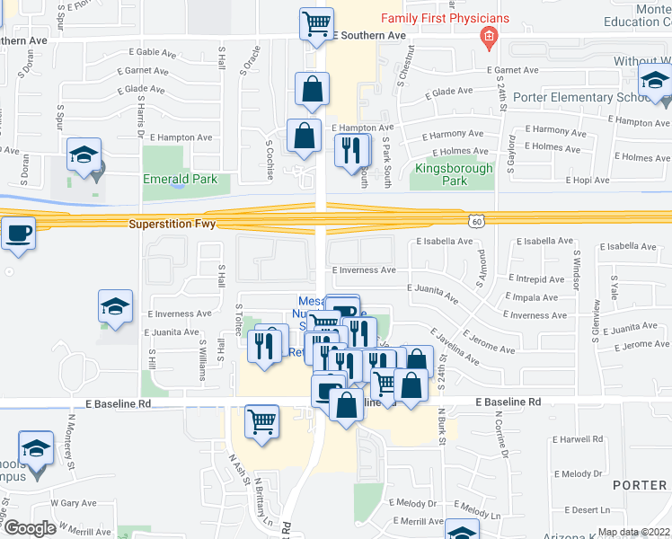 map of restaurants, bars, coffee shops, grocery stores, and more near 2027 East Inverness Avenue in Mesa