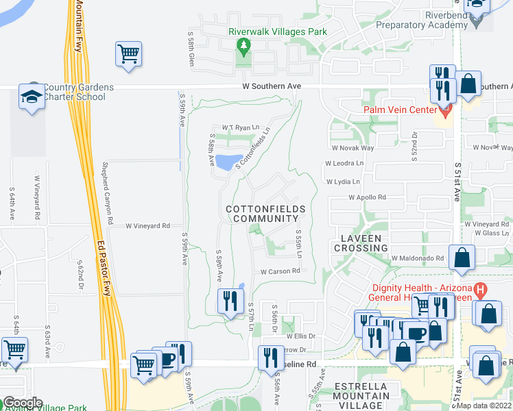map of restaurants, bars, coffee shops, grocery stores, and more near 6625 S 57th Ave in Phoenix