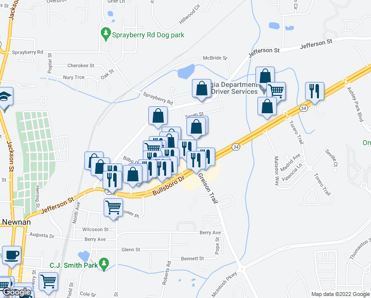 map of restaurants, bars, coffee shops, grocery stores, and more near 805 Greison Trail in Newnan