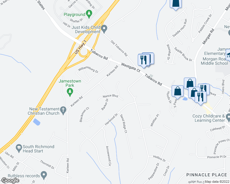 map of restaurants, bars, coffee shops, grocery stores, and more near 3304 Wombles Ct in Hephzibah