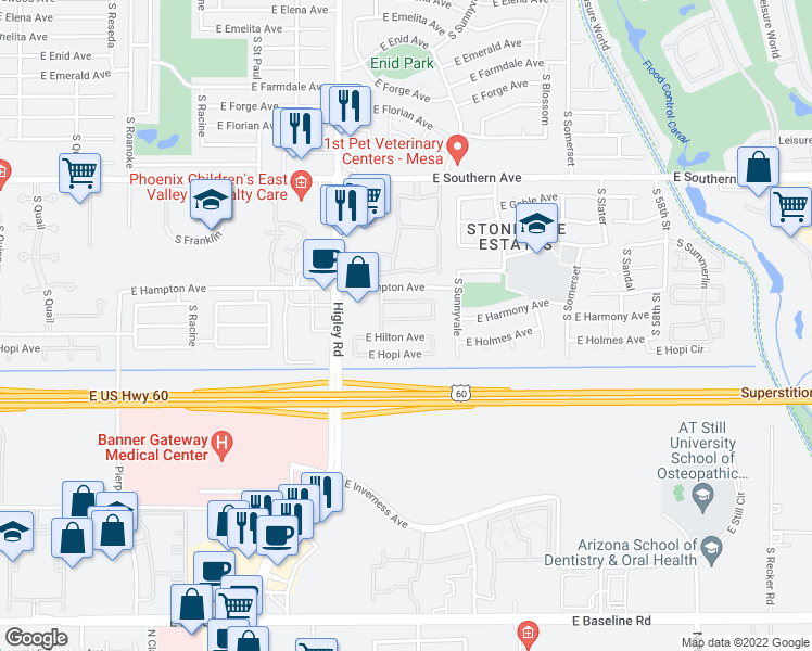 map of restaurants, bars, coffee shops, grocery stores, and more near 5327 East Holmes Avenue in Mesa