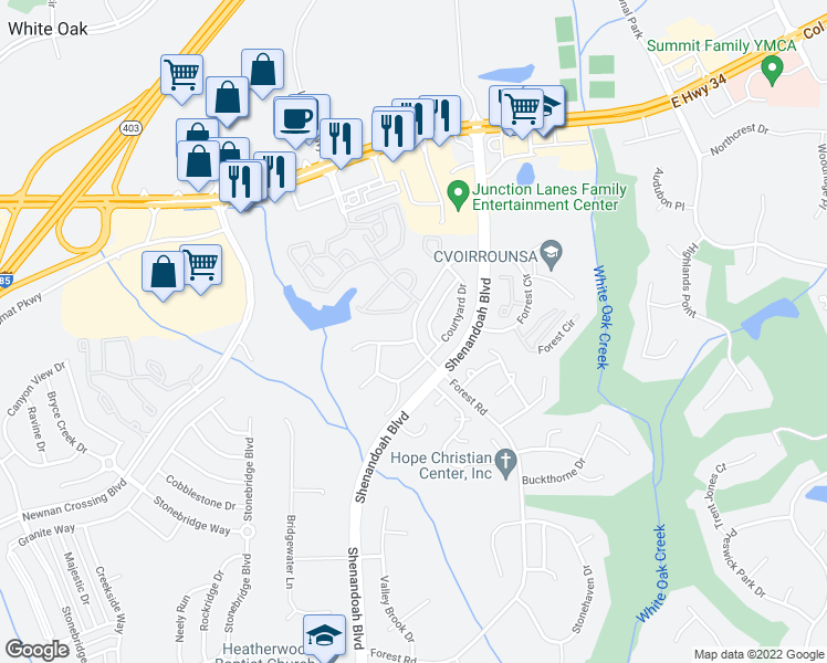 map of restaurants, bars, coffee shops, grocery stores, and more near 135 Courtyard Lane in Newnan